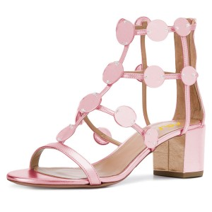 Pink Block Heel Gladiator Heels Sandals