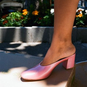 Pink Block Heels Sandals Round Toe Mules US Size 3 -15