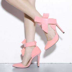 Pink Bow Heels Suede Ankle Strap Pumps Stiletto Heel Prom Shoes