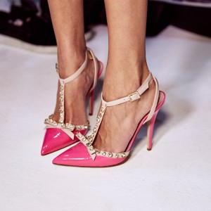 Hot Pink Bow Rhinestones Stiletto Heel T Strap Pumps