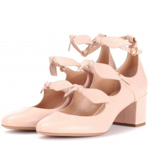 Blush Bow Tri Strap Cute Mary Jane Shoes Round Toe Block Heels Pumps