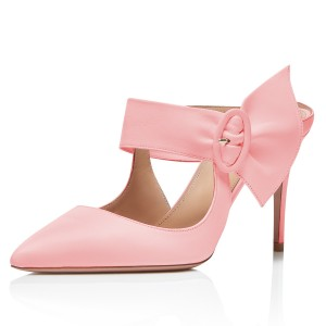 Pink Buckle Mules