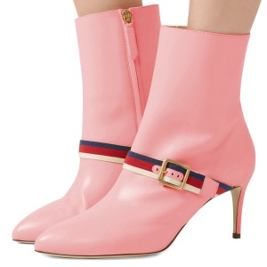 Pink Buckle Strap Fashion Almond Toe Ankle Booties