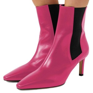 Pink Chelsea Boots Stiletto Heel Low Heel Ankle Boots