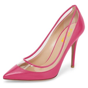Fuchsia Clear Pointy Toe Stiletto Heels Pumps