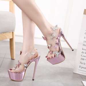 Pink Clear Strap Butterfly Platform Heels Stiletto Heel Sandals