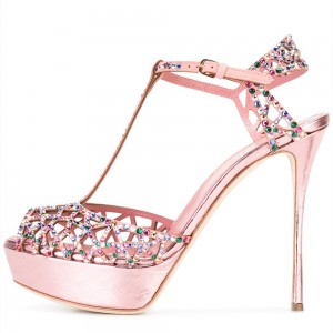 Pink Colorful Rhinestone Hotfix T Strap Stiletto Heel Platform Sandals