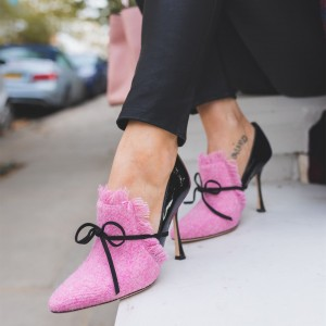 Pink Denim Loafers for Women Pointy Toe Spool Heels Pumps with Bow
