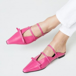 Pink Double Strap Bow Flat Mule