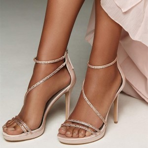 Pink Evening Shoes Rhinestone Sandals Open Toe Stiletto Heels