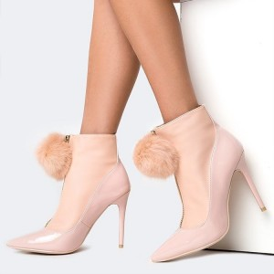 Blush Pom Pom Shoes Pointy Toe Stiletto Heel Ankle Booties