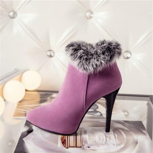 Pink Furry Stiletto Heel Ankle Booties