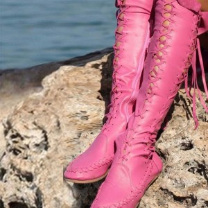 Pink Lace up Gladiator Boots Comfortable Flats Strappy Knee-high Boots