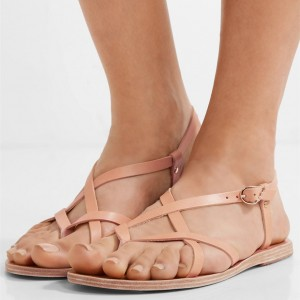 Pink Gladiator Sandals Vintage Beach Slingback Sandals