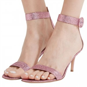 Pink Glitter Open Toe Stiletto Heel Ankle Strap Sandals