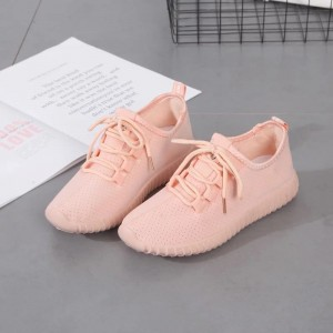 Pink Hollow out Lace up Hui Li Sneakers