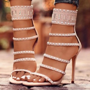 Pink Jewelry Stiletto Heels Strappy Sandals for Party