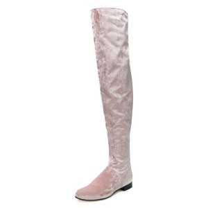 Pink Long Boots Round Toe Flat Over-the-Knee Boots