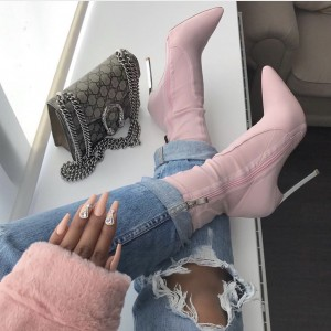 Pink Lycra Tight Fashion Boots Stiletto Heel Ankle Boots
