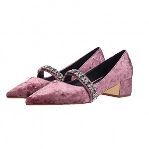 Pink Velvet Heels Vintage Mary Jane Pumps with Rhinestones