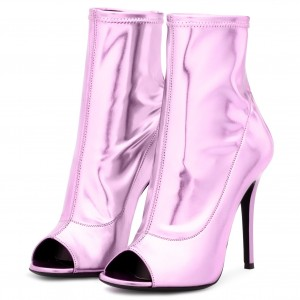 Pink Metallic Peep Toe Booties Stiletto Heels Ankle Boots