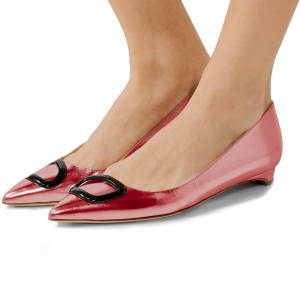 Pink Pointy Toe Flats Comfortable Shoes