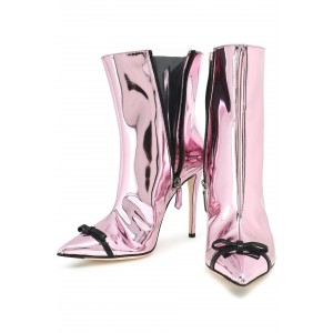Pink Mirror Leather Bow Stiletto Heel Boots Ankle Booties