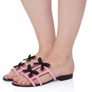 Pink Open Toe Mule Comfortable Flats Summer Sandals with Bow