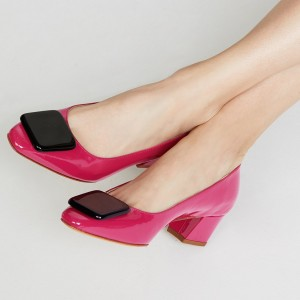 Hot Pink Patent Leather Chunky Heels Square Embellishment Pumps