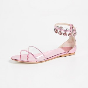 Pink Patent Leather Clear PVC Rhinestones Ankle Strap Flat Sandals