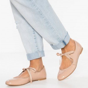 Blush Patent Leather Flats Mary Jane Shoes Lace up Ballet Shoes