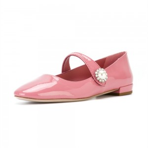 Pink Patent Leather Mary Jane Shoes Square Toe Flats with Rhinestone