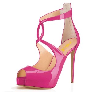 Magenta Stiletto Heels Peep Toe Cross Over Platform Pumps
