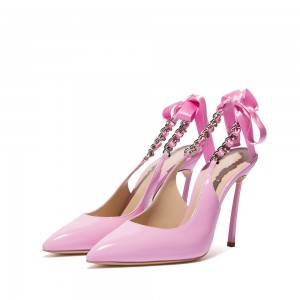 Pink Patent Leather Pointy Toe Bow Stiletto Heel Slingback Pumps