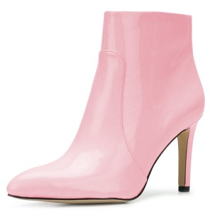 Pink Patent Leather Stiletto Heel Ankle Booties for Women