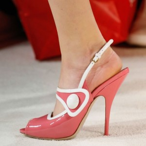 Women's Pink Slingback Peep Toe Stiletto Heels Sandals