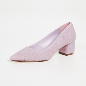Pink Pointed Toe Block Heels Pumps