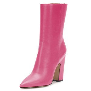 Pink Pointy Toe Chunky Heel Boots Fashion Ankle Booties with Zipper