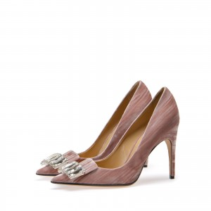 Old Pink Pointy Toe Crystal Stiletto Heel Pumps