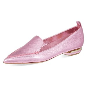 Pink Pointy Toe Low Heel Loafers for Women