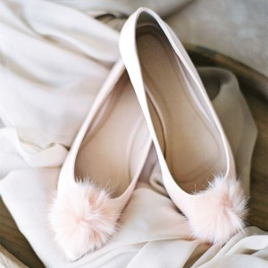 Pink Pom Pom Wedding Shoes Pointy Toe Flats