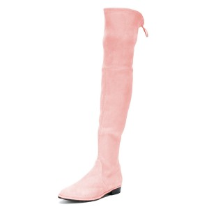 Pink Round Toe Chunky Heels Long Boots Suede Over-the-knee Boots