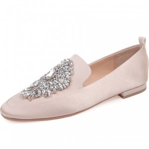 Pink Round Toe Rhinestone Comfortable Flats Satin Loafers for Women