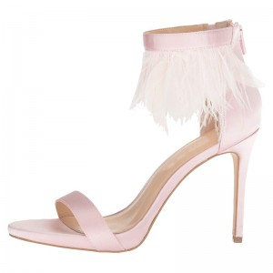 Pink Satin Ankle Strap Heels Feather Sandals