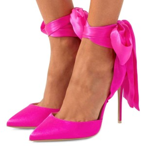 Fuchsia Satin Ankle Strap Tie Stiletto Heels Pumps