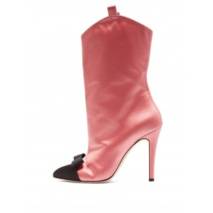 Pink Satin Black Bow Stiletto Heel Ankle Booties