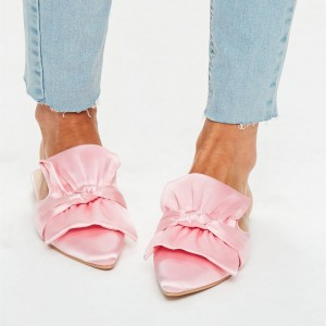 Pink Satin Bow Flat Mules