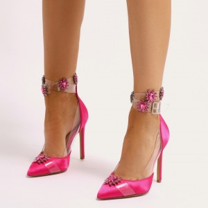 Pink Satin Clear Rhinestone Ankle Strap Heels Pumps