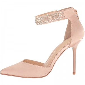 Blush Satin Pointy Toe Beaded Ankle Strap Heels Pumps