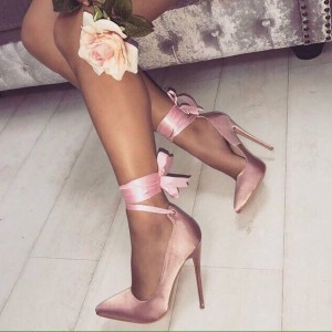 Pink Satin Pointy Toe Stiletto Heels Strappy Pumps